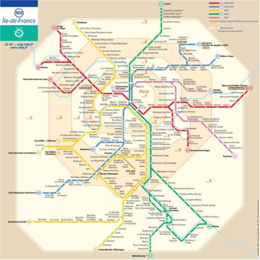 mapa rer paris 535x535 - ¿Cómo organizar un viaje a Francia en Navidad?