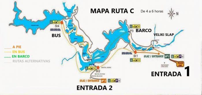 mapa ruta C plitvice